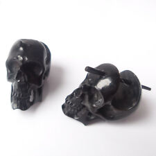 Carved Skull Earrings Tribal Ear Stretchers Gothic Jewelry Gift