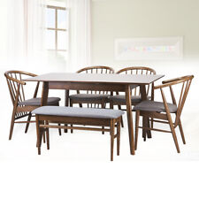 Dining Room Set of 6: 4 Toby Chairs Extendable Table Bench