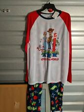 "Toy Story ""Toy to the World"" Men's Large blue & white 2 pc pajama set NWT"