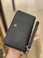 NWT Tory Burch Phone Case Emerson Zip Passport Continental Wallet Black/ 01 0419