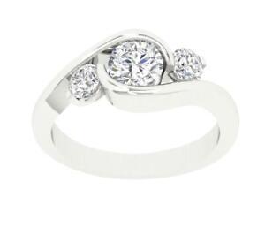 Bezel Set 3 Stone Anniversary Ring I1 G 1.00 Ct Natural Diamond 14K Gold