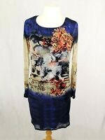 OUI 90's Grunge style stretch sheer layered embroidered women's blue dress 10