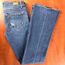 Paige  Women's Jeans (27 X 32) Laurel Canyon Destroyed Boot Cut Medium Wash Blue