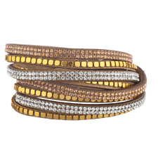 Lux Accessories Brown Gold Tone Bead Champagne Double Row Suede Wrap Bracelet