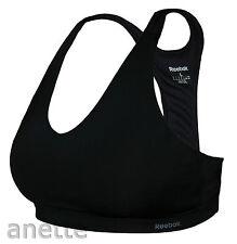 Reebok PlayDry Black Ladies Bra Top Fitness Fitted Stretch L