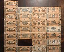 Assorted Counterfeit Confederate Bills $1, $10, $20, $50, $100 28 Bills Total!