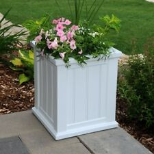 Planter Square White Plastic Drainage Holes Self Watering Sub Irrigation 16 in
