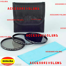 Kit 3 filtros HD  58 mm  UV CPL ND8 para Sony Canon Nikon Tamron Pentax Sigma