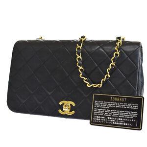 Authentic CHANEL CC Matelasse Chain Shoulder Bag Leather Black Vintage 629LB199