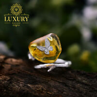 Natural Amber Handmade Butterfly Real 925 Sterling Silver Women Rings