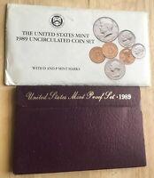 1989 U.S. MINT UNCIRCULATED SET + PROOF SET (2 SETS) IN OGP