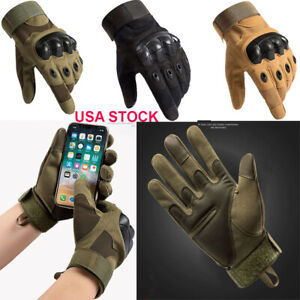 Touch Screen Army Combat Hunting Hiking Tactical Hard Knuckle Full Finger Gloves
