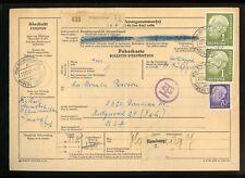 BUND Nr.194(2) u.a. HEUSS PAKETKARTE SCHMIDMÜHLEN 27.12.1957 USA (950403)