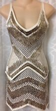 Herve Leger Dress White Heavy Silver Beaded Xs
