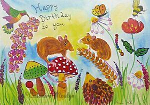 "Happy Birthday card, Mice, Hummingbird among flowers  5"" x 7"" By Casimira Mostyn"