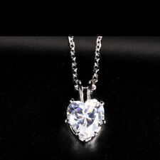 7mm Heart Cubic Zirconia Gemstone CZ Mini Pendant Free Necklace Mother's Gift