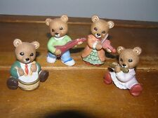 Lot of 4 Homco Porcelain Bear Family Playing Musical Instruments Drum Flute Guit