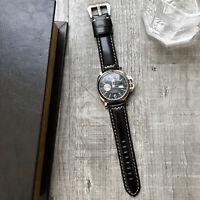 Schwarz Geölt Leder Uhrenarmband Für Panerai Luminor Marina Pam 22mm 24mm 26mm