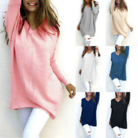 pull femmes haut long pull manches longues molleton col en V Pull tricot NEUF