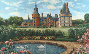 """34"""" WALL JACQ. WOVEN TAPESTRY French Castle & Swan Pond MEDIEVAL DECOR PICTURE"""
