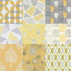 Modern Mustard Yellow Ochre Geometic Apex Floral 10m Wallpaper