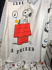 Vintage Snoopy Peanuts Twin Bed Cover Bedding LOVE IS A FRIEND