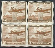 Chile 1951 Sc# C155 Airmail Plane Mountain snow block 4 MNH