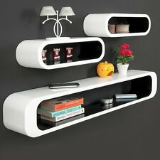 Wall Shelf Decor Set Unit High Gloss Furniture Home Modern White Storage Shelves