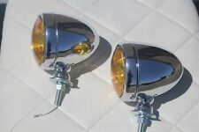 Vintage Style Fog Light Lamps Tear Drop 12 Volt Chrome Amber Hot Rod Truck Pair
