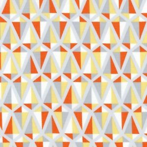 "Fabric Geometric Shapes Orange Coral Grey on White Cotton  9""x42/44""  Q57"