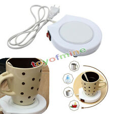 220v White Electric Powered Cup Warmer Pad Coffee Tea Milk Mug US Plug