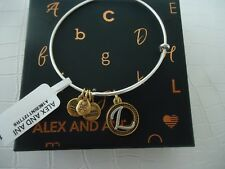 Alex and Ani Initial L TWO TONE Bangle Russian Silver New W/ Tag Card & Box