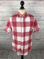 BODEN Short Sleeved Linen Shirt - Medium - Check - Great Condition - Men's
