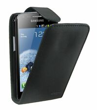 Black Leather case cover for Samsung Galaxy S Duos GT-S7562 +2 SCREEN PROTECTORS