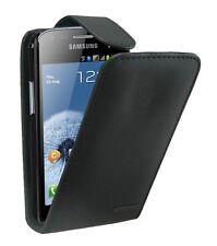 Cuero Negro Funda Para Samsung Galaxy S Duos Gt-s7562 +2 Protectores De Pantalla