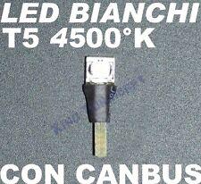 Lampadina LED T5 BIANCO 4500 K SMD Luci CRUSCOTTO QUADRO STRUMENTI 1,2W 2,3W 12V