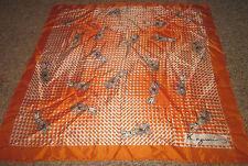 Orange Coaching Horse Drawn Carriag Scarf Signed Kazumi