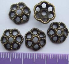 30 tibetan bronze colour bead cap 10mm nickel free T10