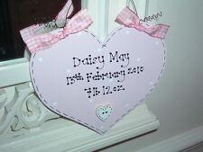 Personalised Shabby Chic Heart Sign ~ New Baby Girl ~ Keepsake Present Gift