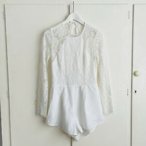 THE JETSET DIARIES white lace open back short romper M 10   ex cond