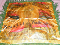 Vintage Souvenir Pillow Sham Fringes Washington DC Colorful