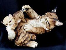 Large Franklin Mint Porcelain Mother Lynx & Kitten Very Cute