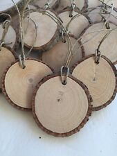 10 Wood slice tags - slices drill with hole and string attaached