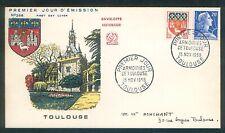 France - 1958 - N°1182 TOULOUSE avec N°1011B sur Fdc/enveloppe 1er jour -
