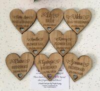 Personalised Laser Engraved Wedding Party Wooden Oak VeneerHeart Coat Hanger Tag