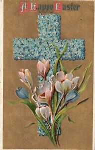 Vintage Postcard 1910's A Happy Easter Cross Flowers White Lilies Greetings