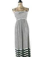 Ann Taylor Loft Women's  Stripe Strapless Elastic Waist Maxi Dress Size Small