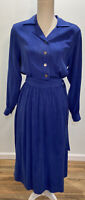 Vintage California Design by Dorothy Samuel Blue Sheath Blouson Dress Women's 6