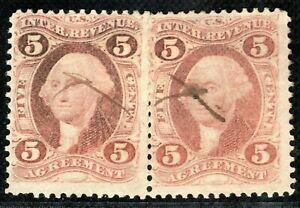 USA Revenue Stamps Pair{2} 5c AGREEMENT Used {samwells-covers}ORANGE323