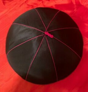 NEW GAMMARELLI MONSIGNOR ZUCCHETTO Rome made skull cap silk Black with purple XL